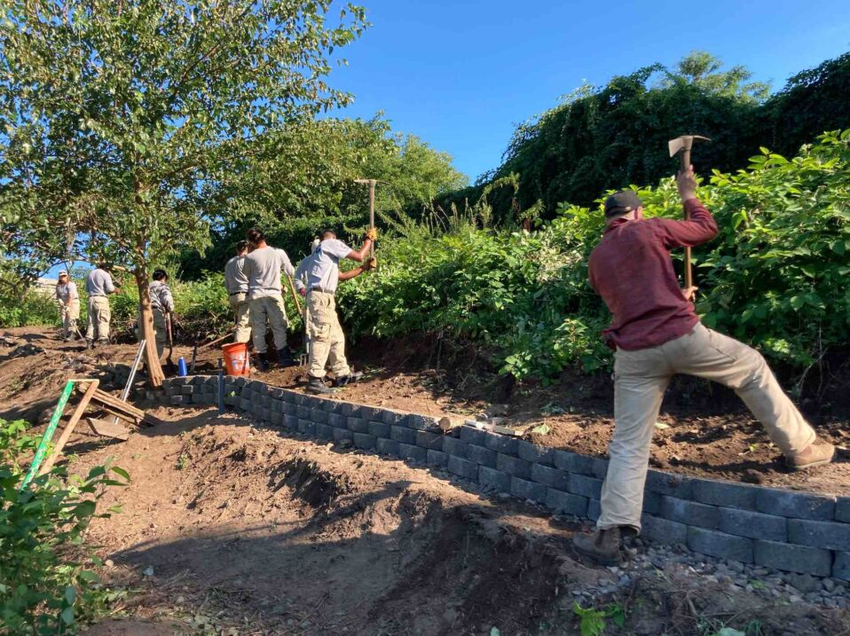 NCCC crew building path and retaining wall at Galego Farm
